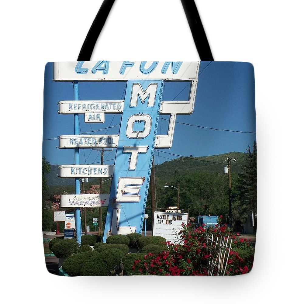 Vintage Motel Signs Tote Bag featuring the photograph Lafon Motel by Anita Burgermeister