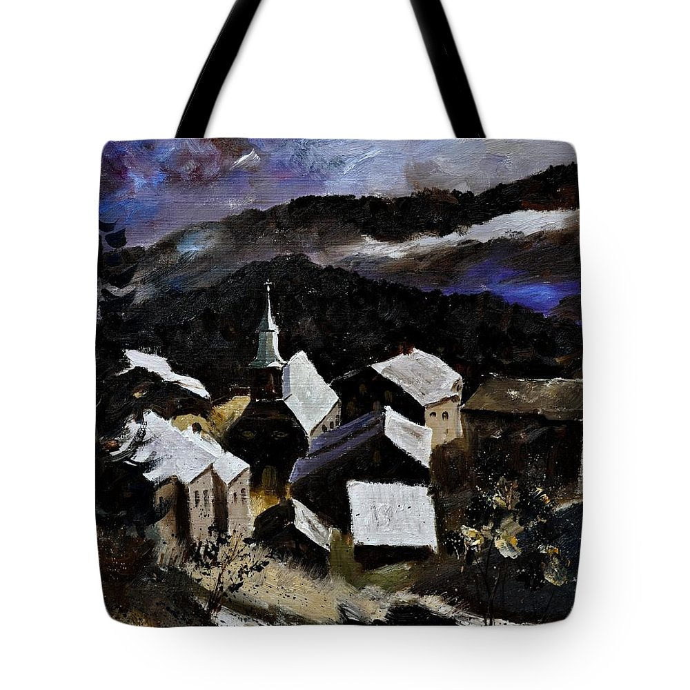 Landscape Tote Bag featuring the painting Laforet Vresse by Pol Ledent