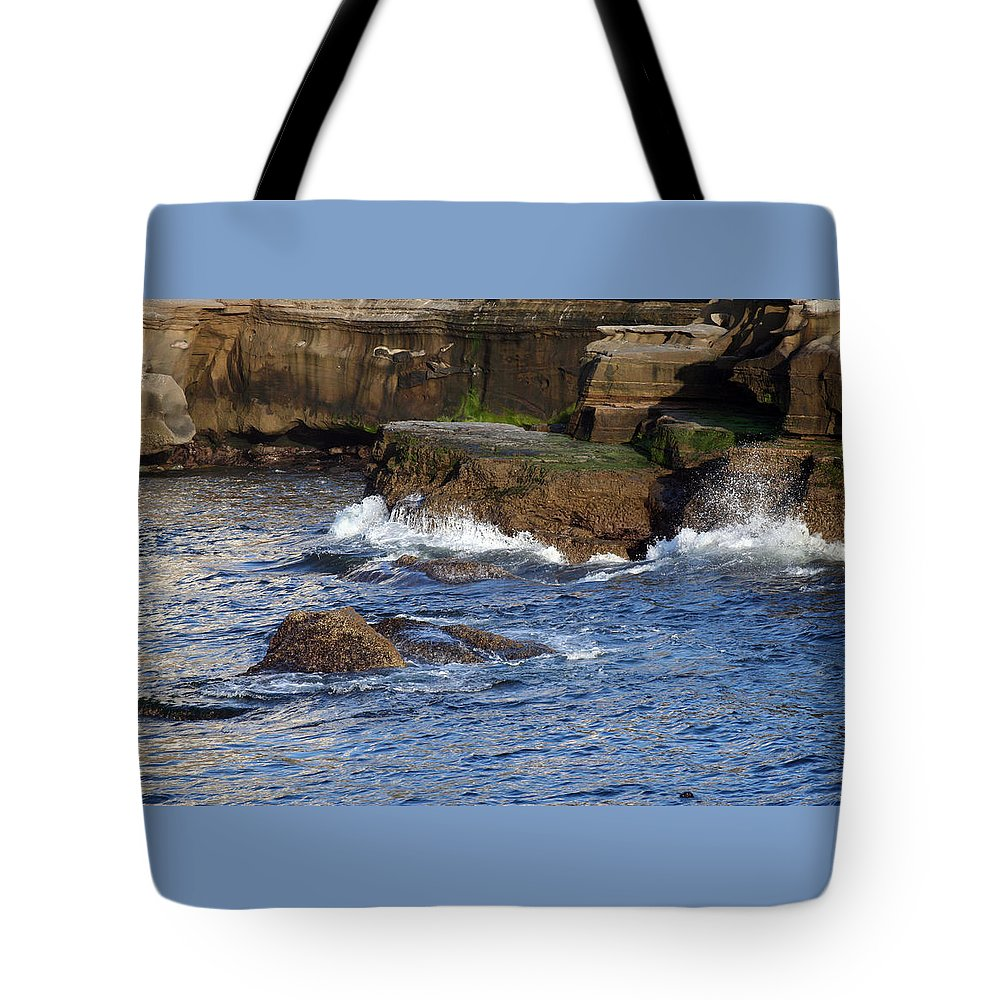 Ocean Tote Bag featuring the photograph Lajolla Rocks by Margie Wildblood