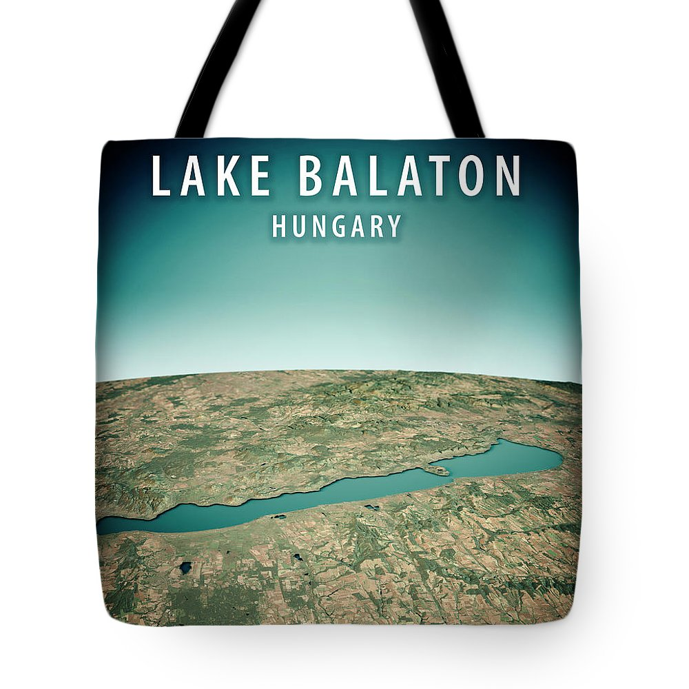 Lake Balaton Tote Bag featuring the digital art Lake Balaton 3d Render Satellite View Topographic Map Vertical by Frank Ramspott