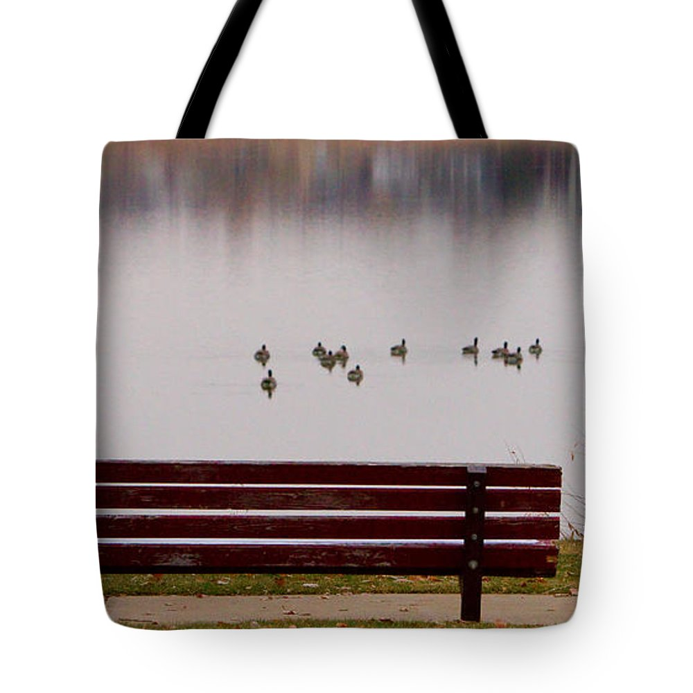 Aspen Tote Bag featuring the photograph Lake Bench by James BO Insogna