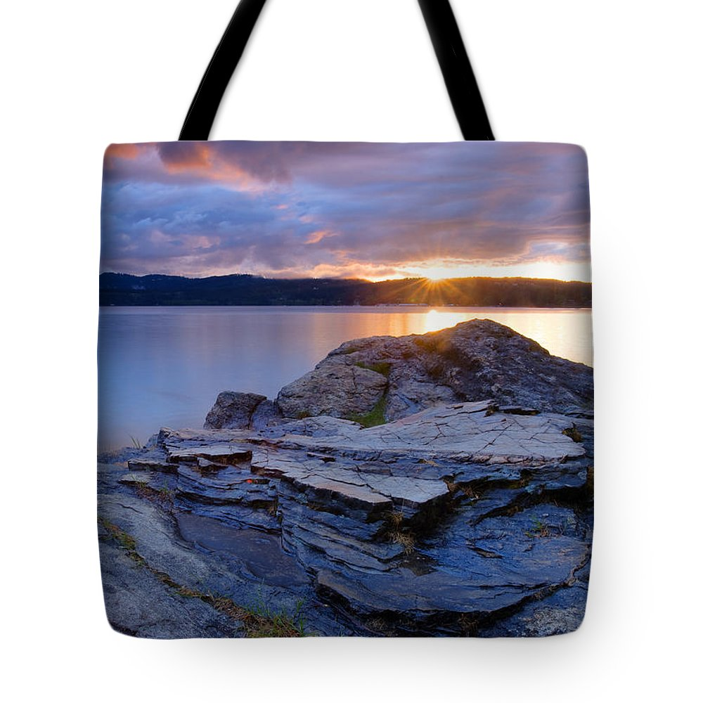 Rock Tote Bag featuring the photograph Lake Coeur D'alene Sunset by Idaho Scenic Images Linda Lantzy