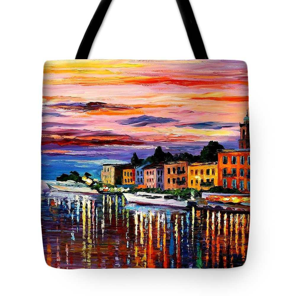 Cityscape Tote Bag featuring the painting Lake Como - Bellagio by Leonid Afremov