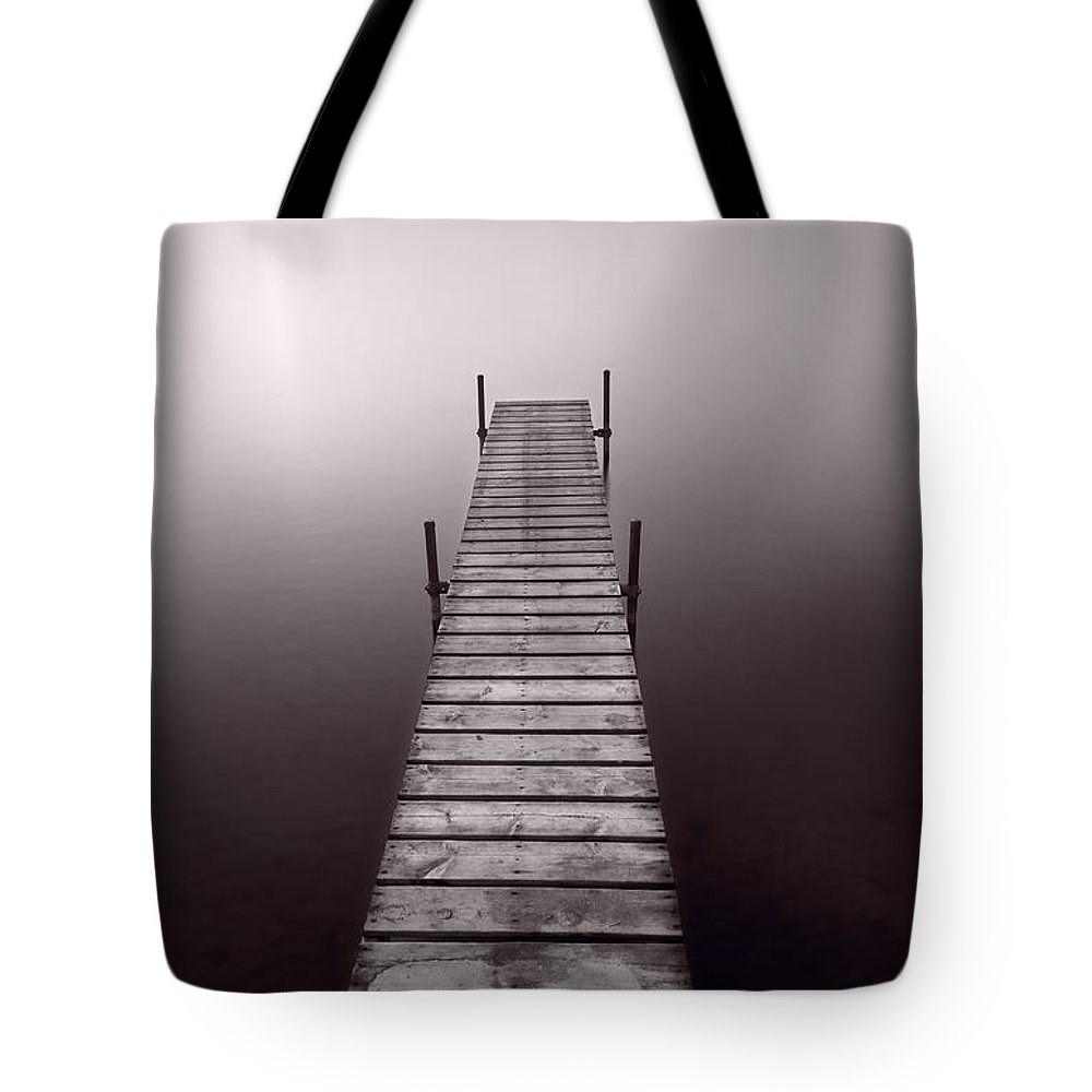 Abstract Tote Bag featuring the photograph Lake Dock In Michigan by Steve Gadomski