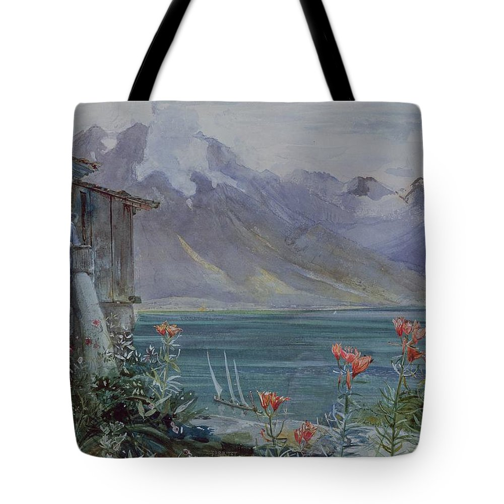 Ferritet Tote Bag featuring the painting Lake Geneva by John William Inchbold