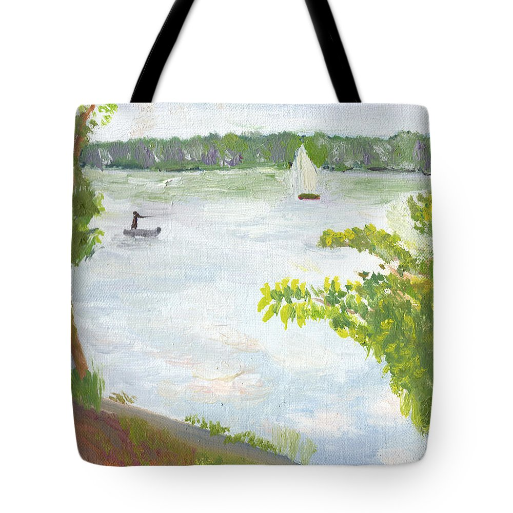 Lake Harriet Tote Bag featuring the painting Lake Harriet With Sailboat And Angler by Paul Thompson
