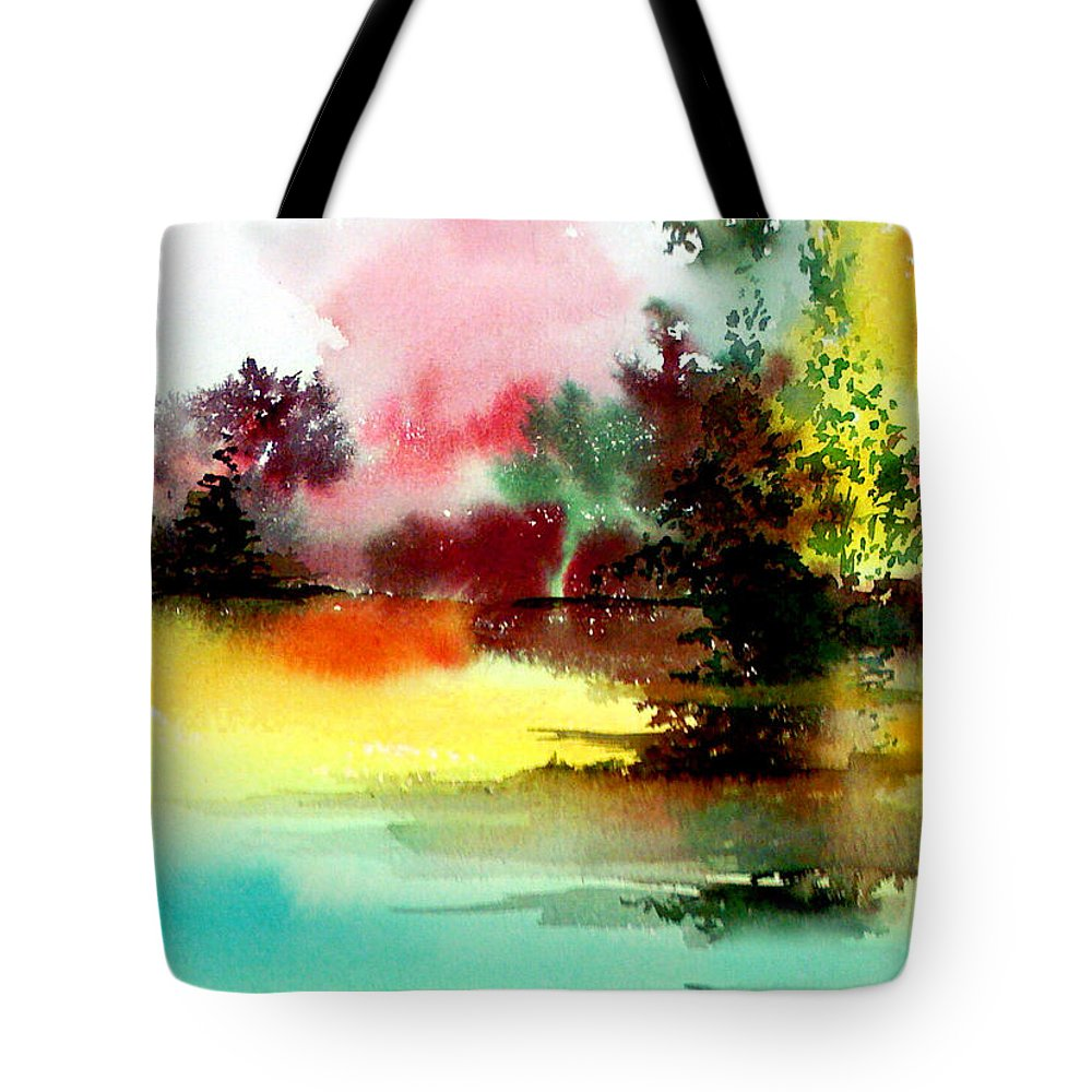 Nature Tote Bag featuring the painting Lake In Colours by Anil Nene