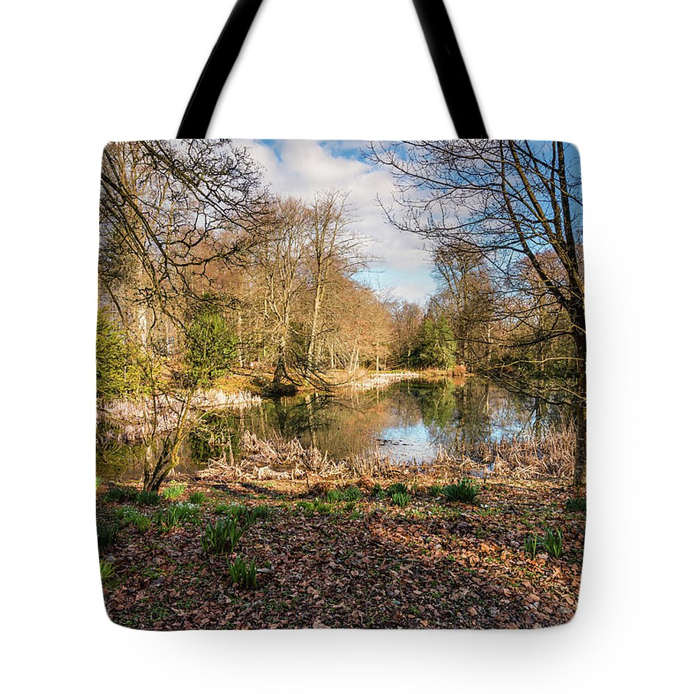 Northumberland Tote Bag featuring the photograph Lake In Early Springtime Woodland by David Head