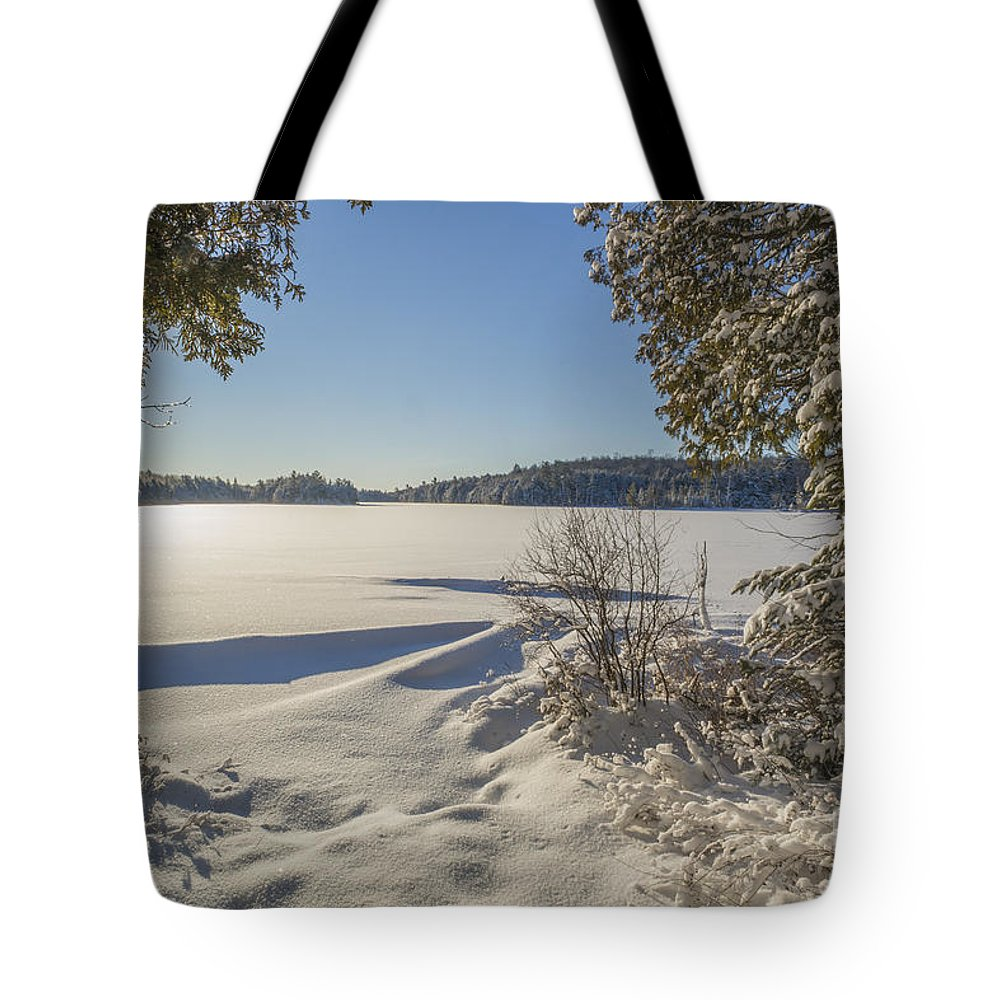 Snow Tote Bag featuring the photograph Lake In Winter by Julie DeRoche