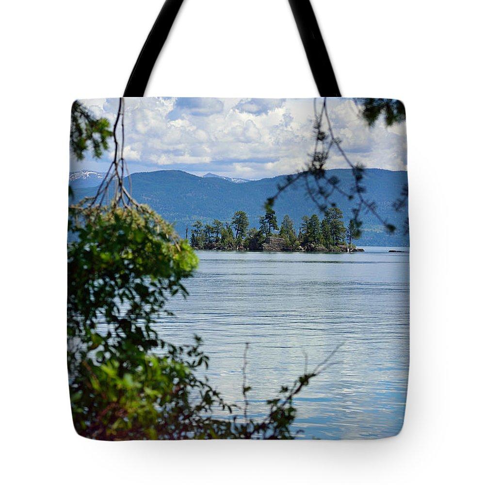 Isle Tote Bag featuring the photograph Lake Islet by Debra Casper
