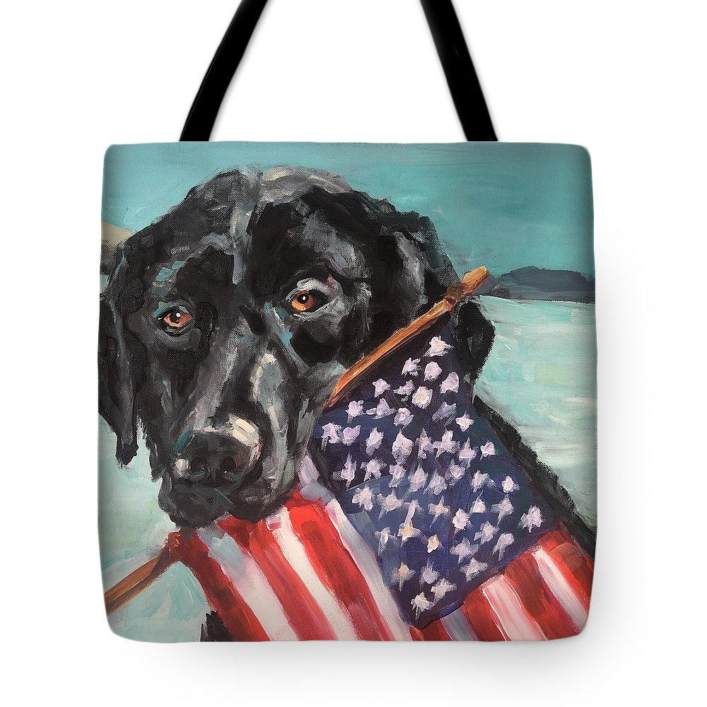 Black Tote Bag featuring the painting Beach Lab by Susan Elizabeth Jones