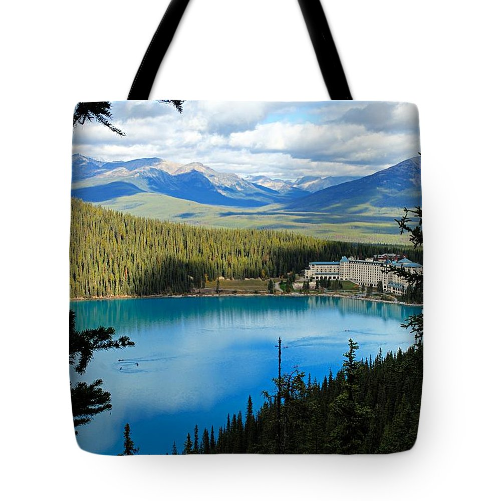 Lake Louise Tote Bag featuring the photograph Lake Louise Chalet by Larry Ricker
