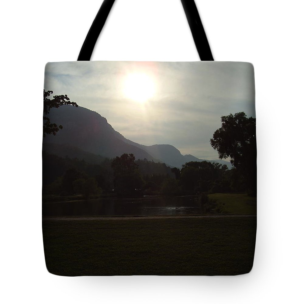 Lake Lure Tote Bag featuring the photograph Lake Lure by Flavia Westerwelle