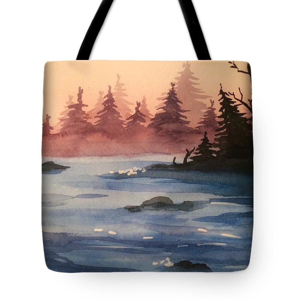 Lake Tote Bag featuring the painting Lake by Maiia Maiorova