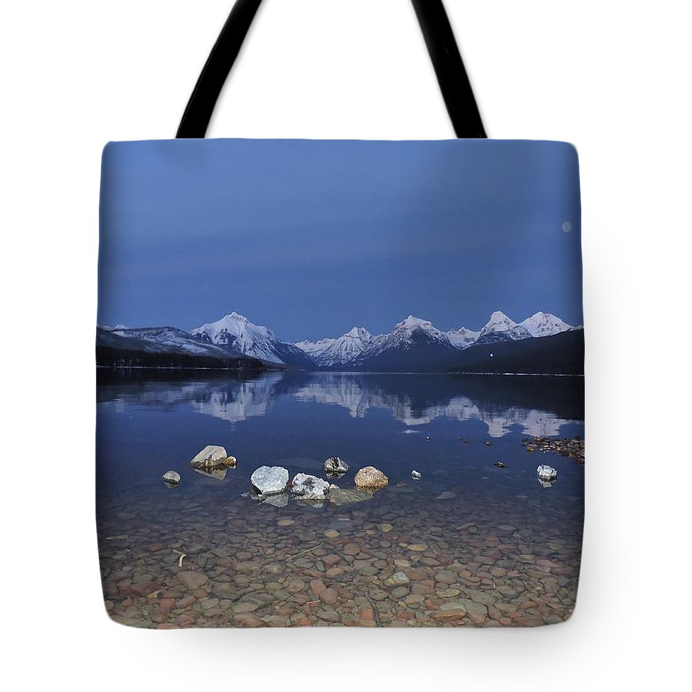 Mountains Tote Bag featuring the photograph Lake Mcdonald Rocks by Eric Fellegy