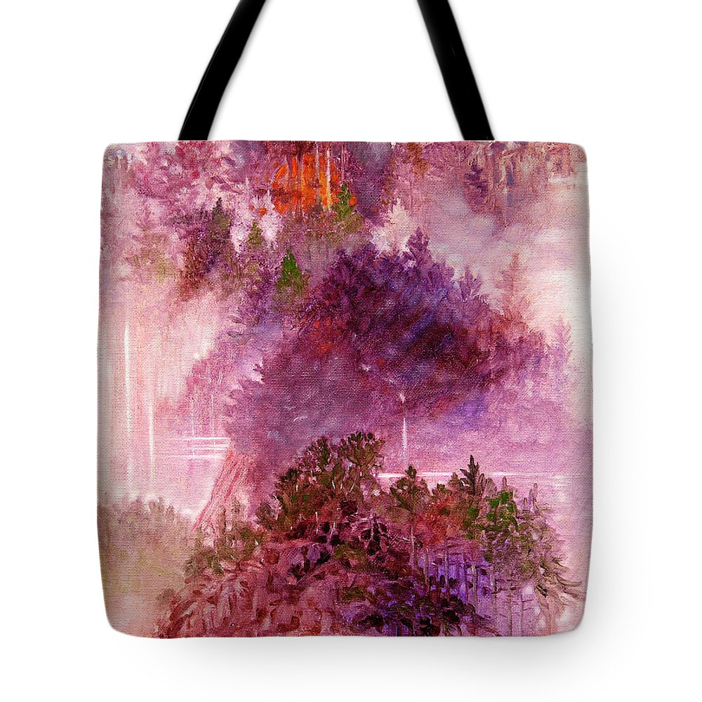 Landscape Tote Bag featuring the painting Lake Memories by John Lautermilch