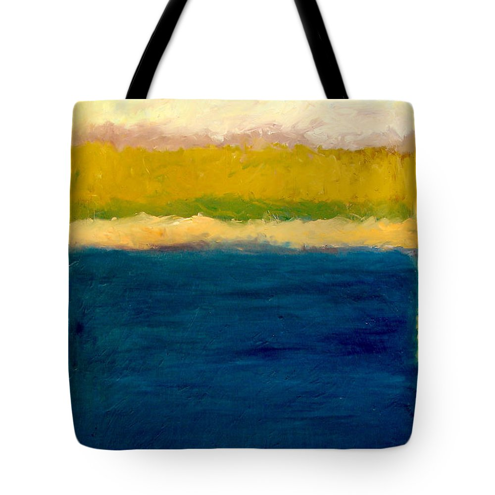 Dunes Tote Bag featuring the painting Lake Michigan Beach Abstracted by Michelle Calkins