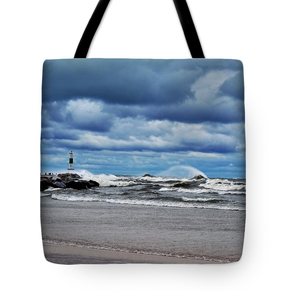 Blue Tote Bag featuring the photograph Lake Michigan With Big Wind by Michelle Calkins