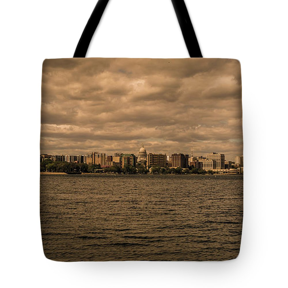 Lake Tote Bag featuring the photograph Lake Monona Skyline by Rockland Filmworks