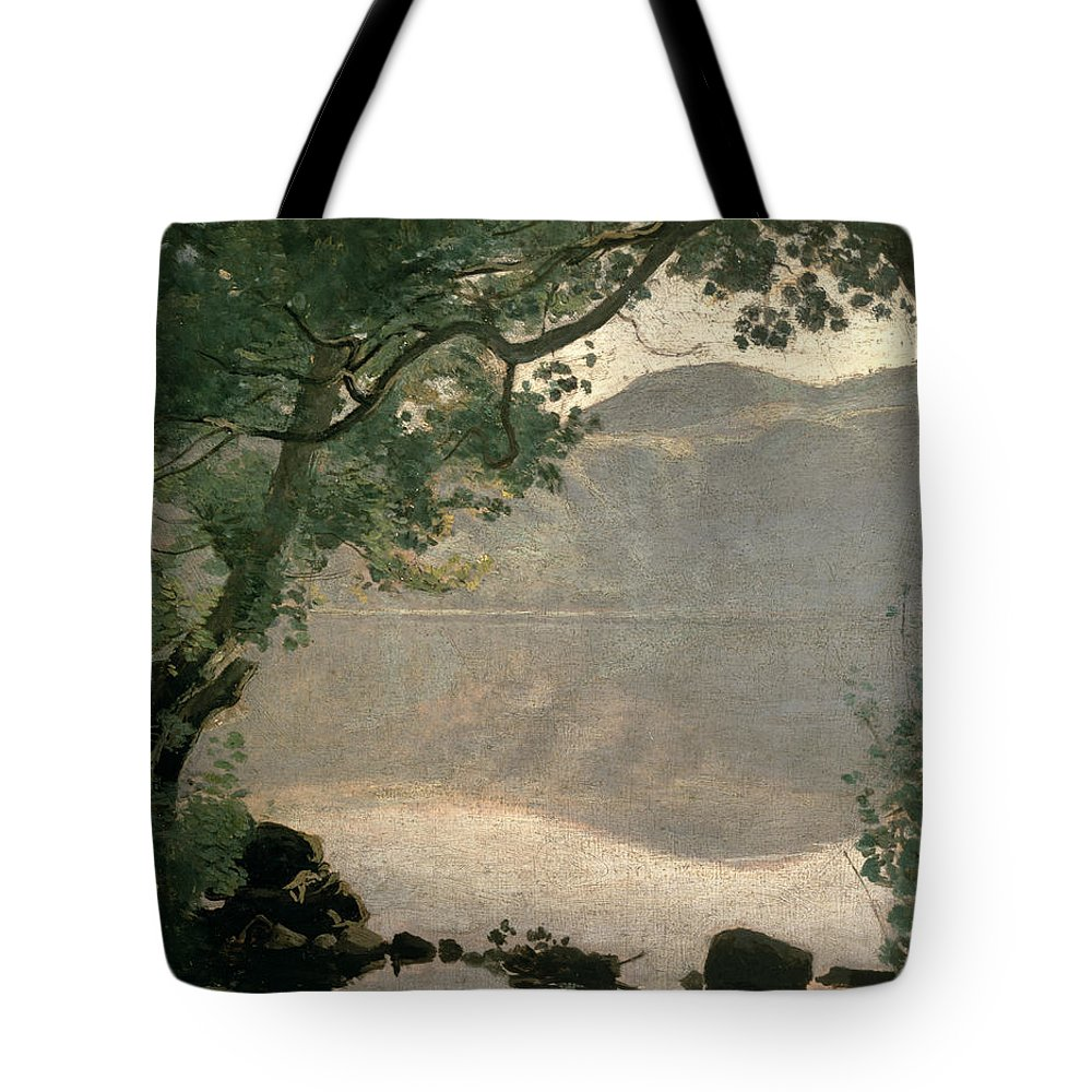 Lake Nemi Tote Bag featuring the painting Lake Nemi by Jean Baptiste Camille Corot