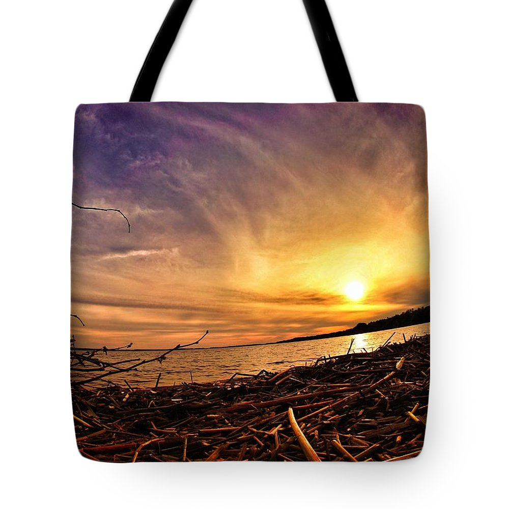 Lake Tote Bag featuring the photograph Lake Nipissing Sunset Callander Bay by Twoblueowls Photography
