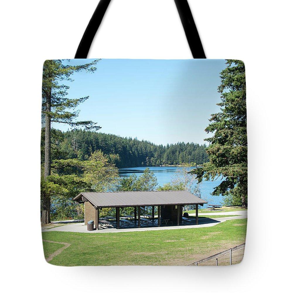 Lake Padden Picnic Shelter Tote Bag featuring the photograph Lake Padden Picnic Shelter by Tom Cochran