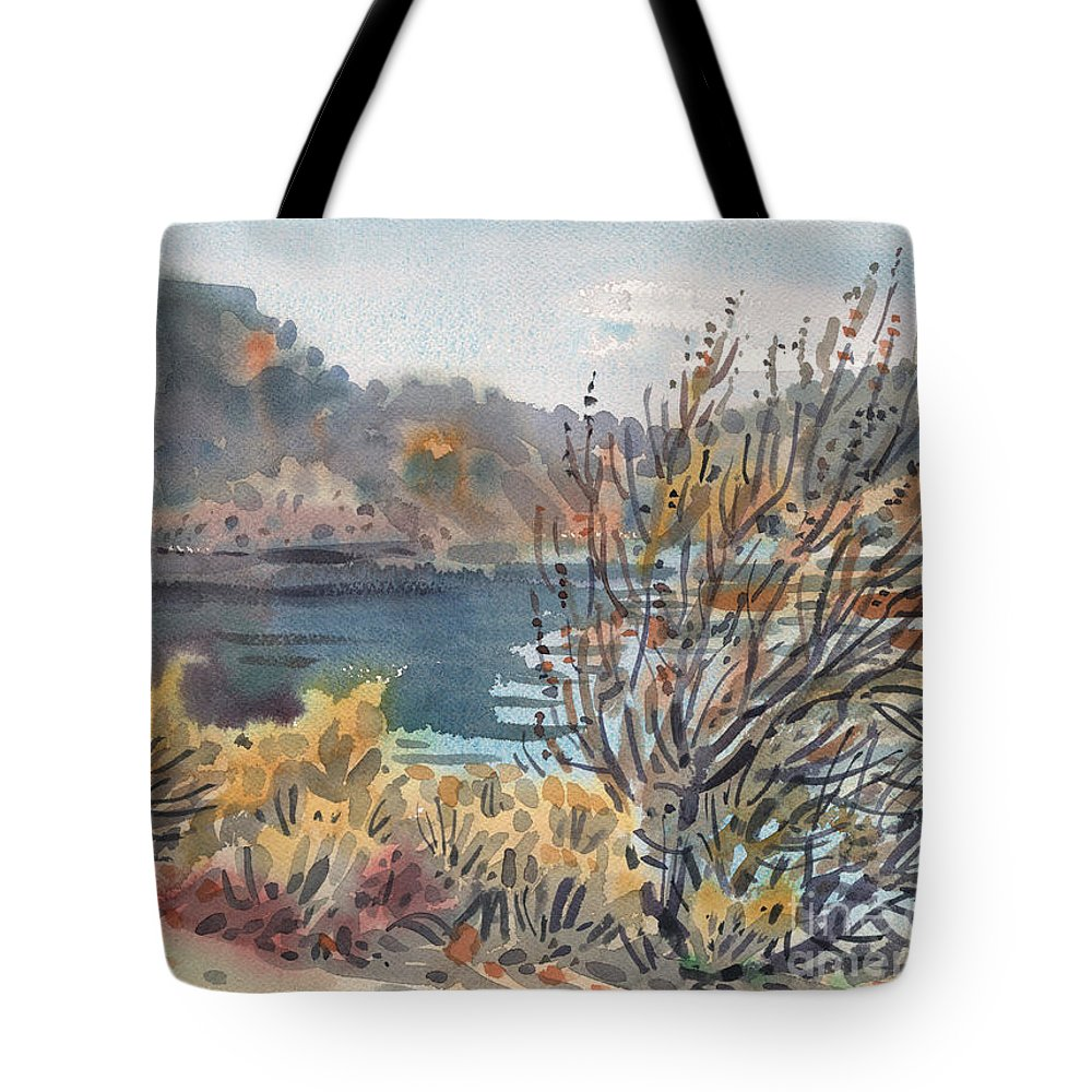 Lake Roosevelt Tote Bag featuring the painting Lake Roosevelt by Donald Maier