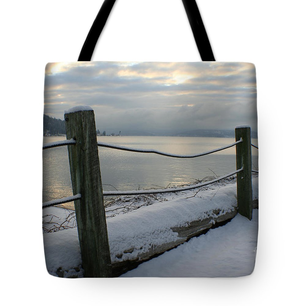 Fence Tote Bag featuring the photograph Lake Snow by Idaho Scenic Images Linda Lantzy