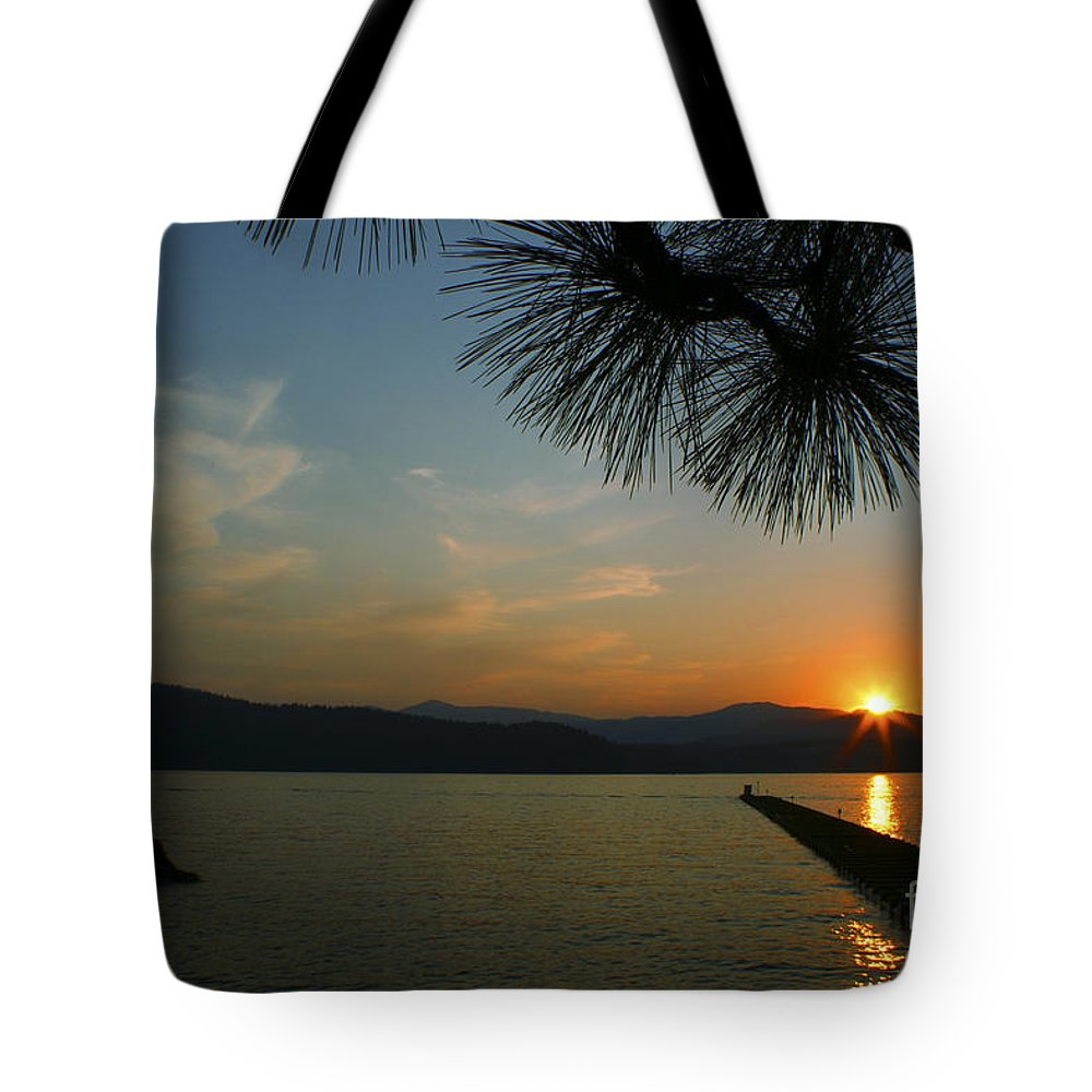 Sunset Tote Bag featuring the photograph Lake Sunset by Idaho Scenic Images Linda Lantzy