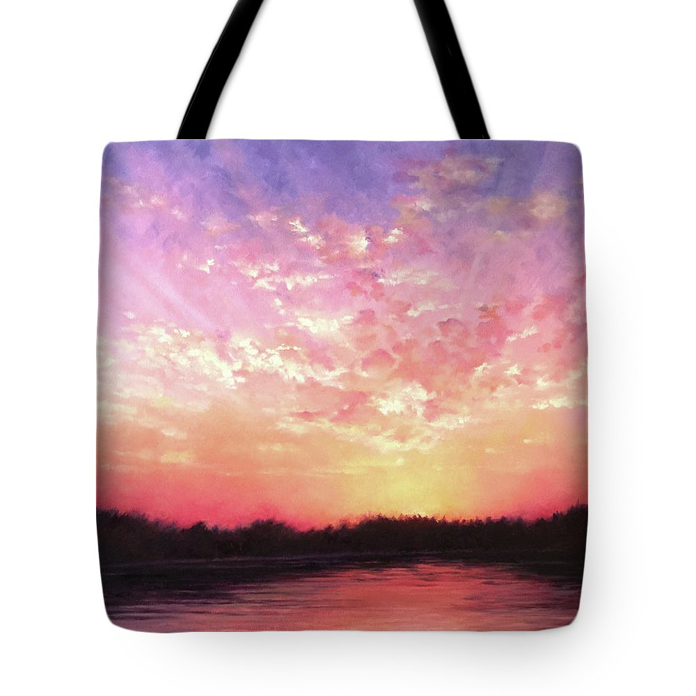 Landscape Tote Bag featuring the painting Lake Sunset by Teri Rosario