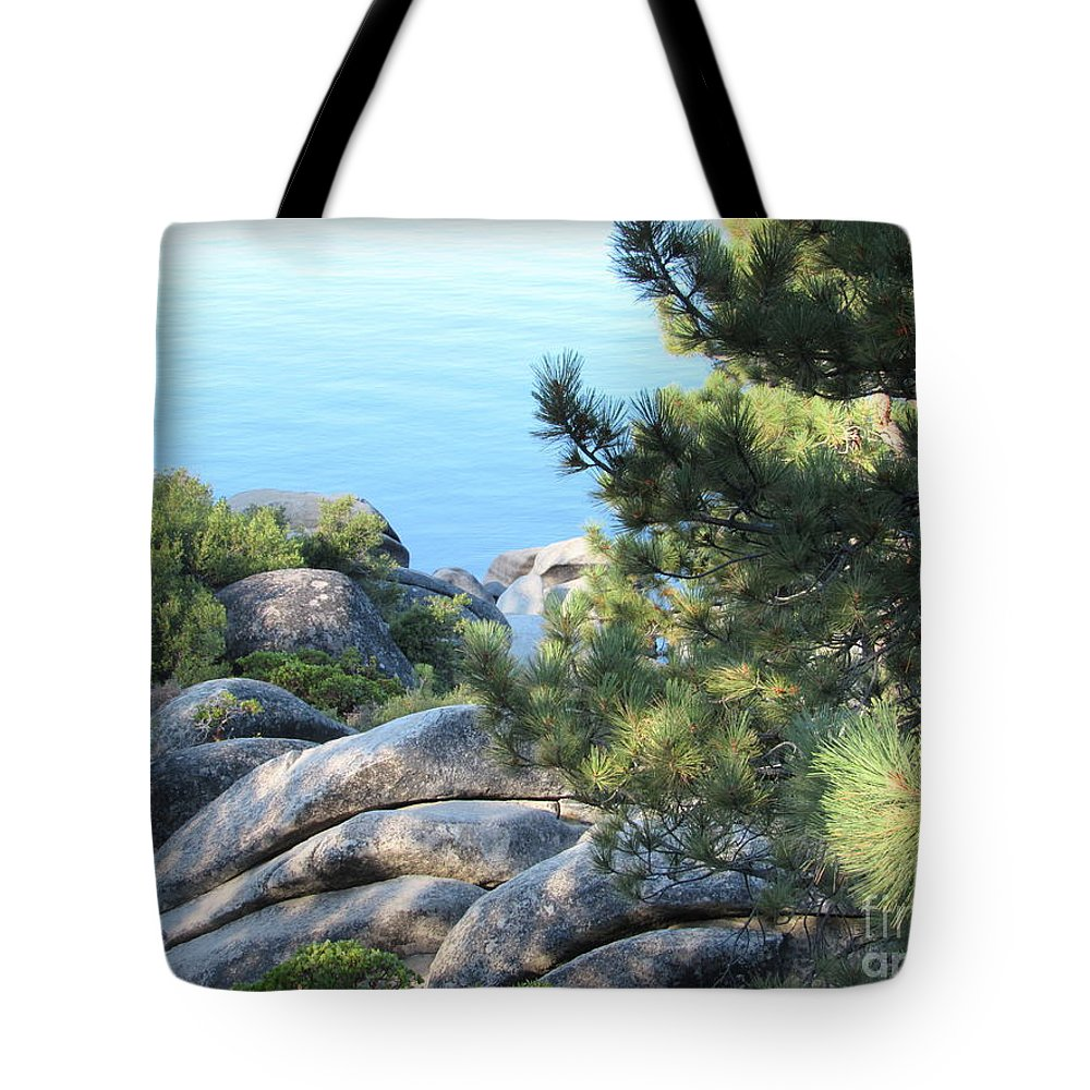 Lake Tahoe Tote Bag featuring the photograph Lake Tahoe And Boulders by Joy Patzner