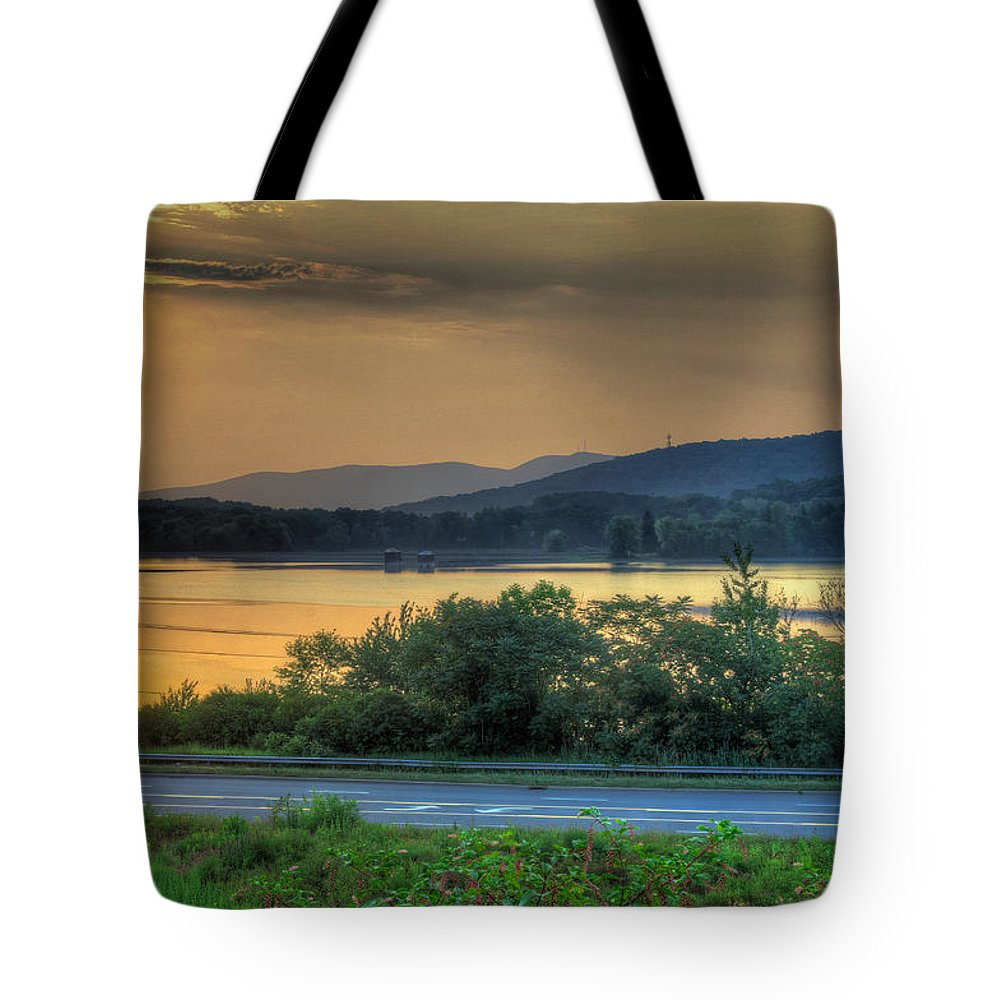 Lake Tote Bag featuring the photograph Lake Washington And Route 209 by Mike Deutsch