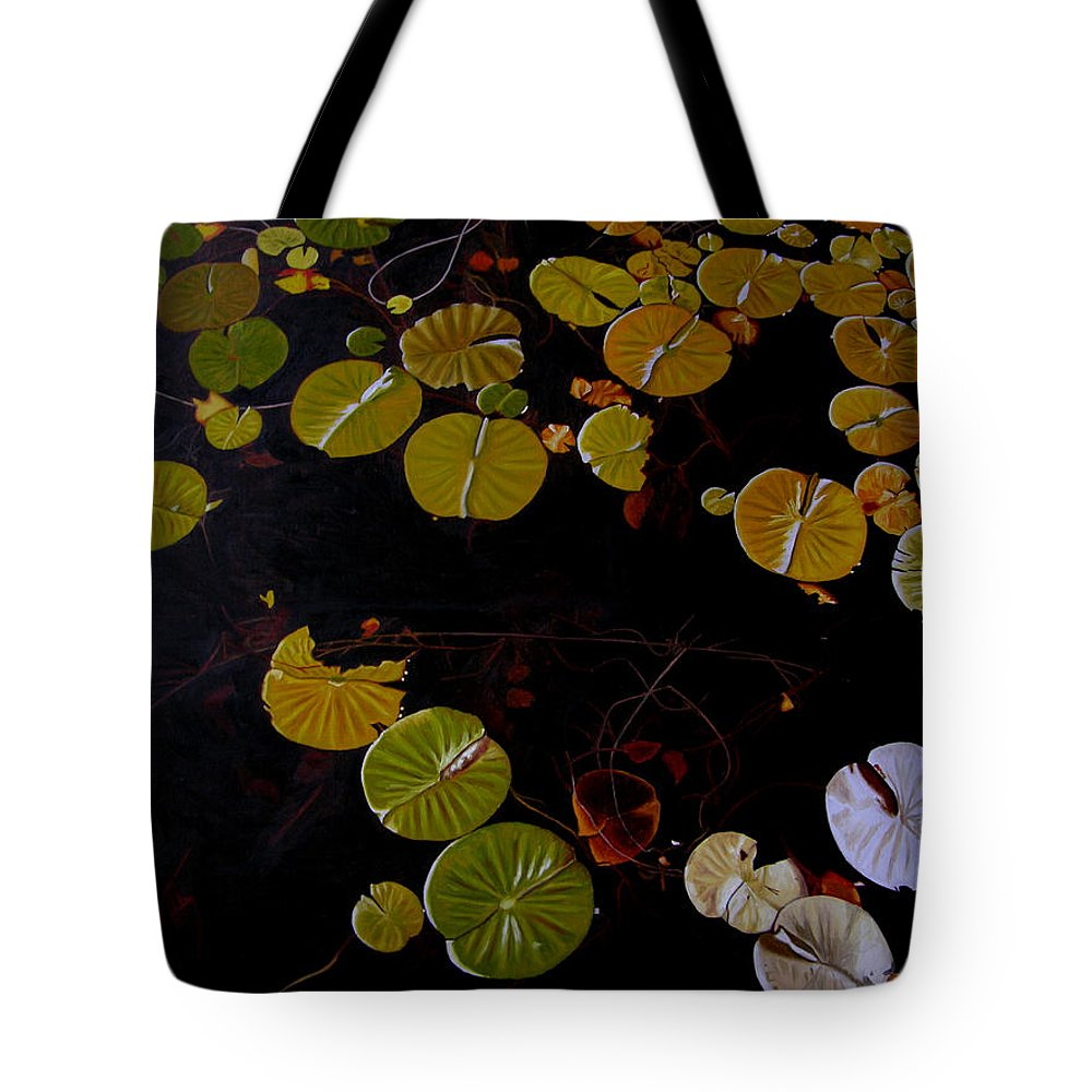 Water Tote Bag featuring the painting Lake Washington Lilypad 8 by Thu Nguyen