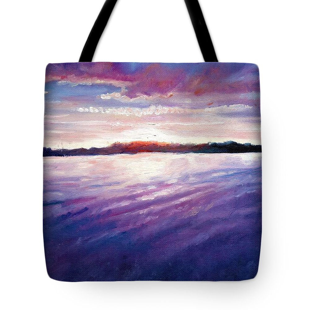 Lake Tote Bag featuring the painting Lakeside Sunset by Shana Rowe Jackson