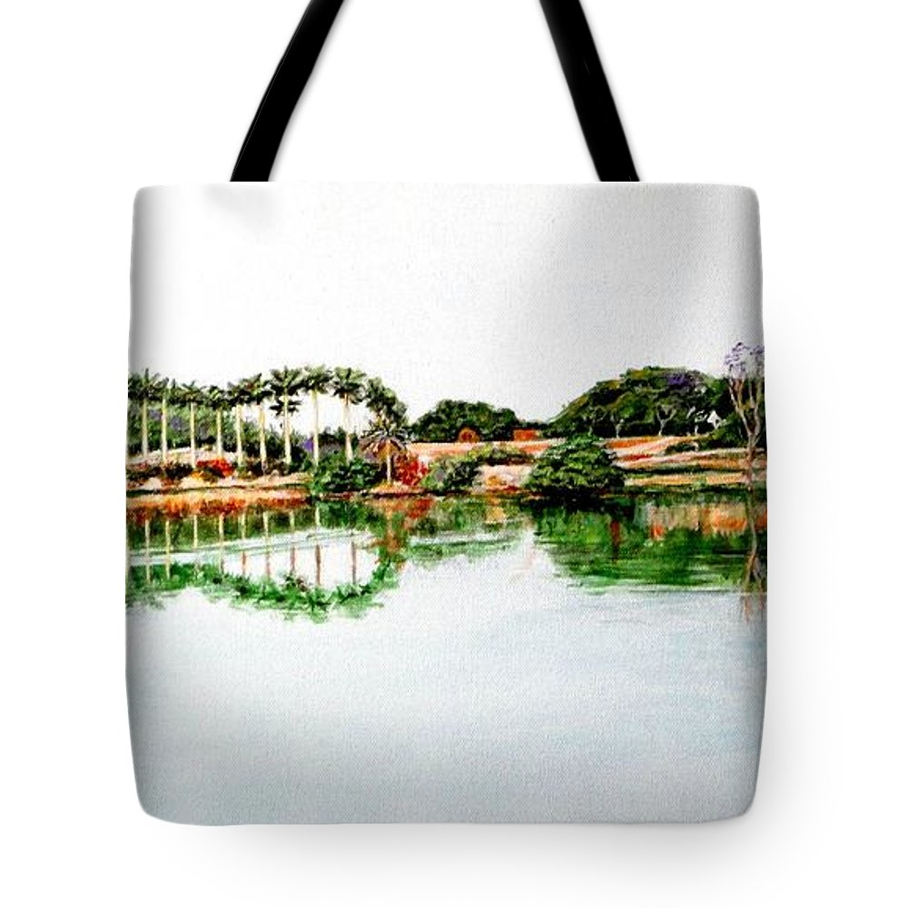 Lakeview Reflections Tote Bag featuring the painting Lakeview Reflections by Usha Shantharam