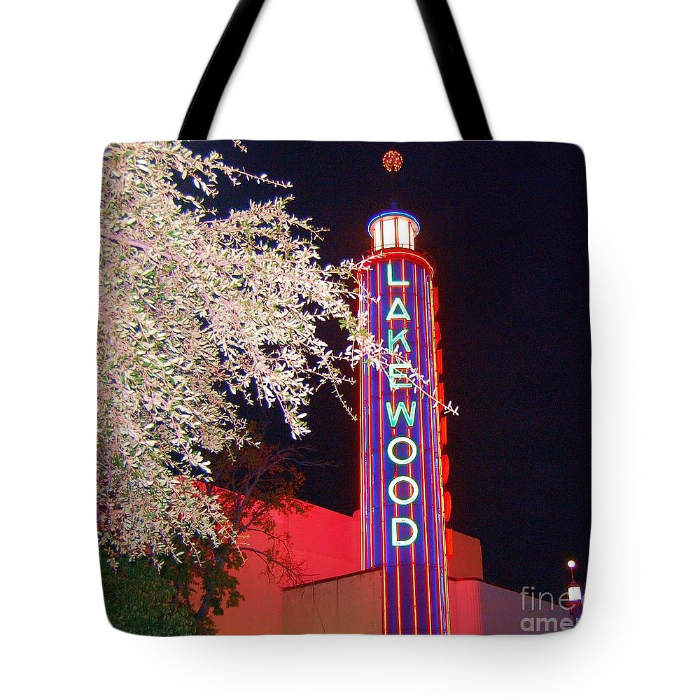 Theater Tote Bag featuring the photograph Lakewood Theater by Debbi Granruth