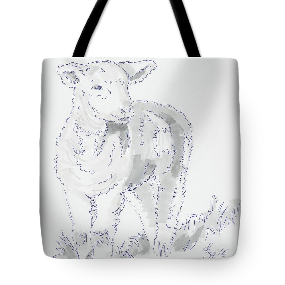 Lamb Drawing Using Marker Pen Tote Bag For Sale By Mike Jory
