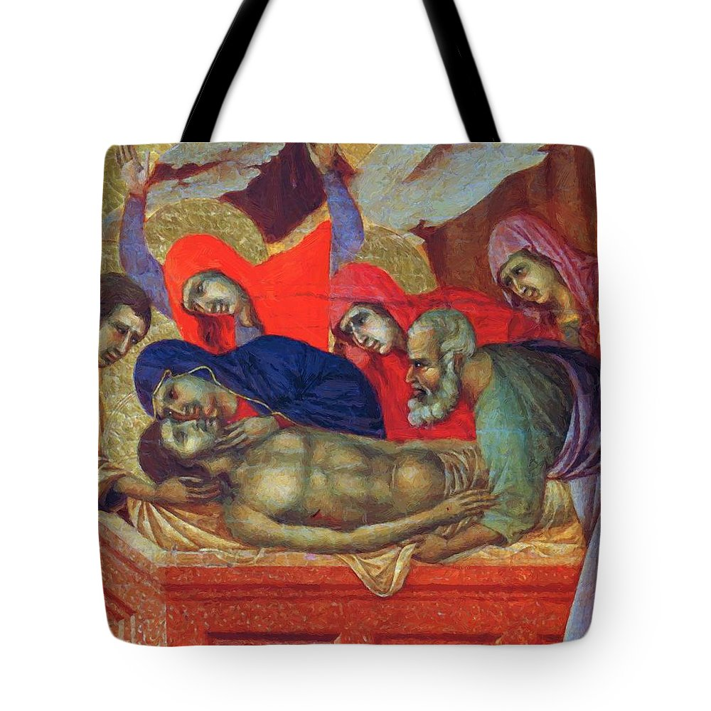 Lamentation Tote Bag featuring the painting Lamentation Of Christ Fragment 1311 by Duccio
