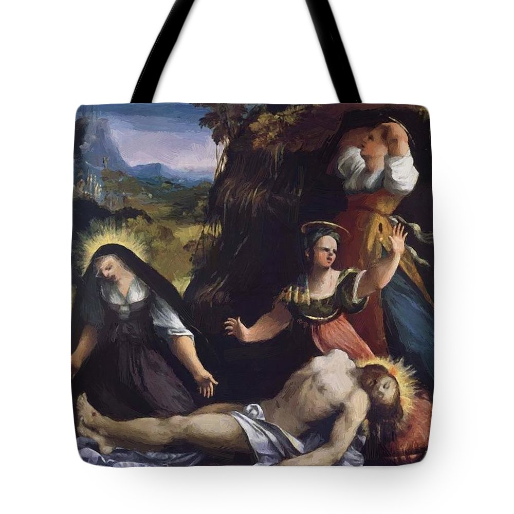 Lamentation Tote Bag featuring the painting Lamentation Over The Body Of Christ 1517 by Dossi Dosso