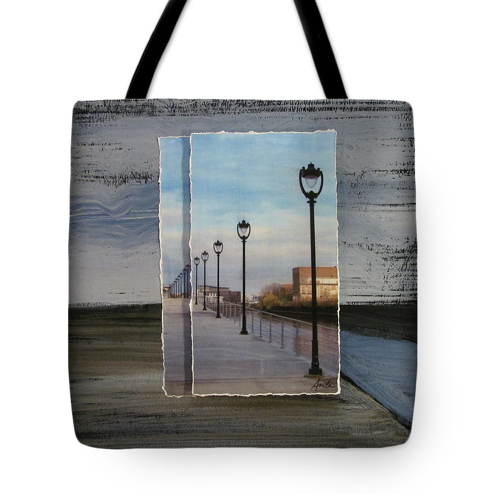 Lamp Post Tote Bag featuring the mixed media Lamp Post Row Layered by Anita Burgermeister