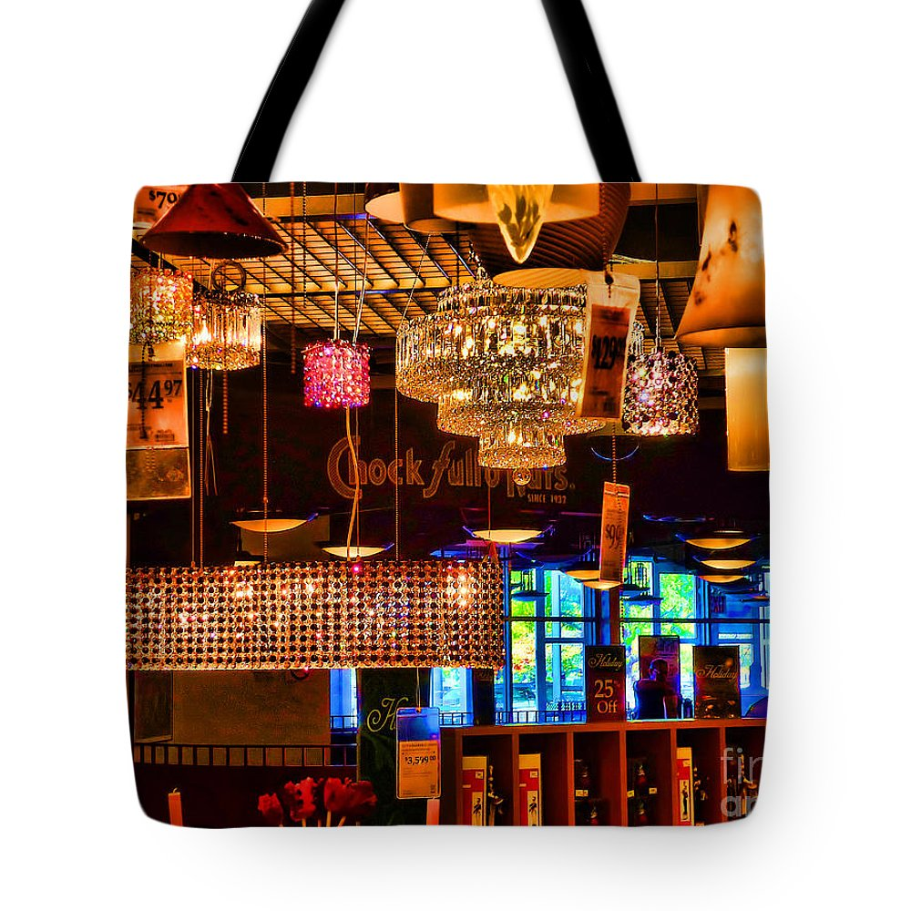 Lamps Tote Bag featuring the photograph Lamp Sale by Jeff Breiman