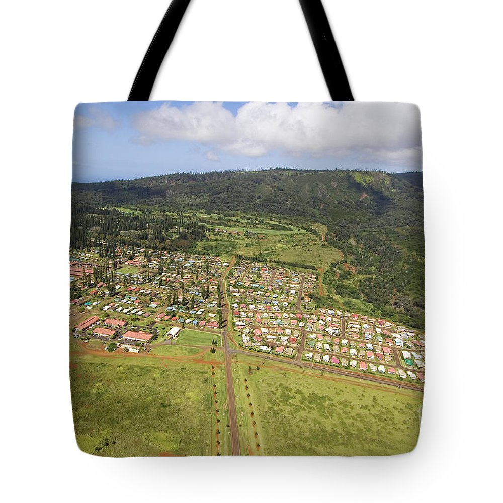 Above Tote Bag featuring the photograph Lanai City Aerial by Ron Dahlquist - Printscapes