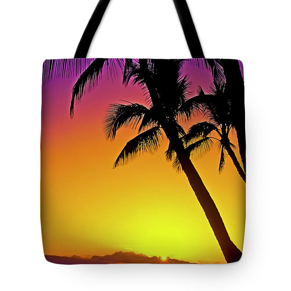 Sunset Tote Bag featuring the photograph Lanai Sunset II Maui Hawaii by Jim Cazel