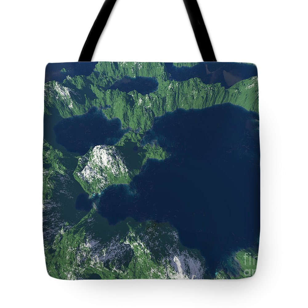 Craters Tote Bag featuring the digital art Land Of A Thousand Lakes by Gaspar Avila