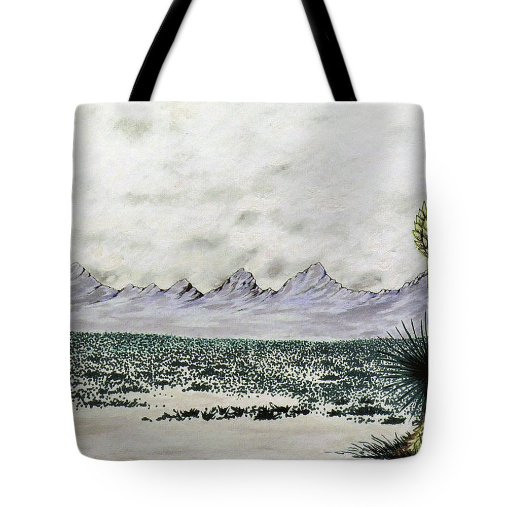 Desertscape Tote Bag featuring the painting Land of Enchantment by Marco Morales