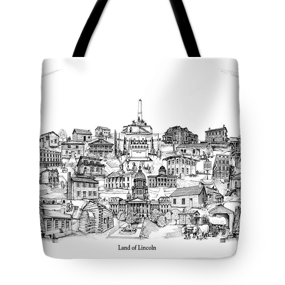 City Drawing Tote Bag featuring the drawing Land Of Lincoln by Dennis Bivens