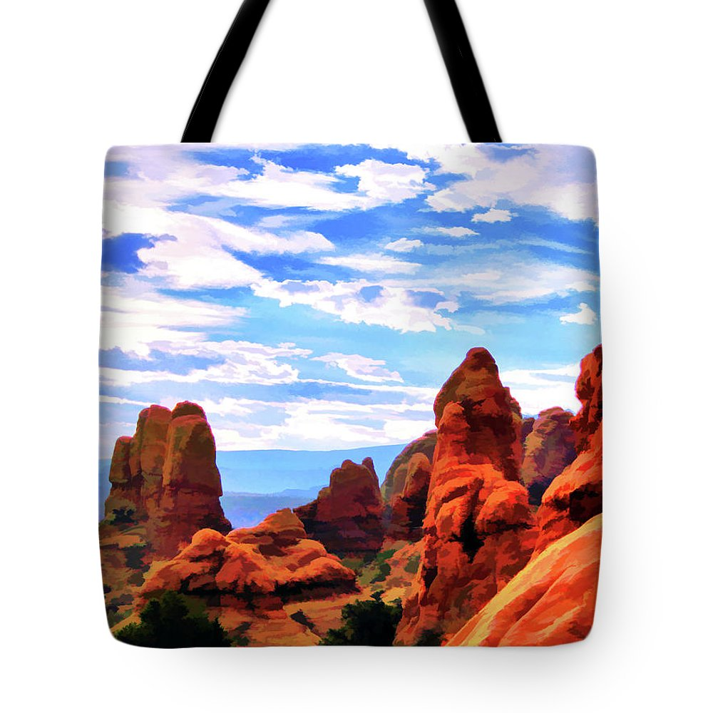 Land Of Moab Tote Bag featuring the digital art Land Of Moab - Watercolor by Gary Baird