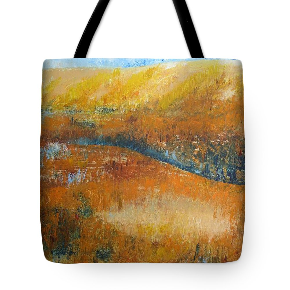 Landscape Tote Bag featuring the painting Land Of Richness by Stella Velka