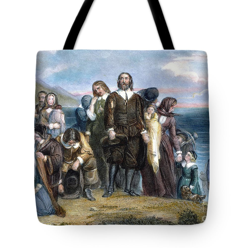 1620 Tote Bag featuring the photograph Landing Of Pilgrims, 1620 by Granger