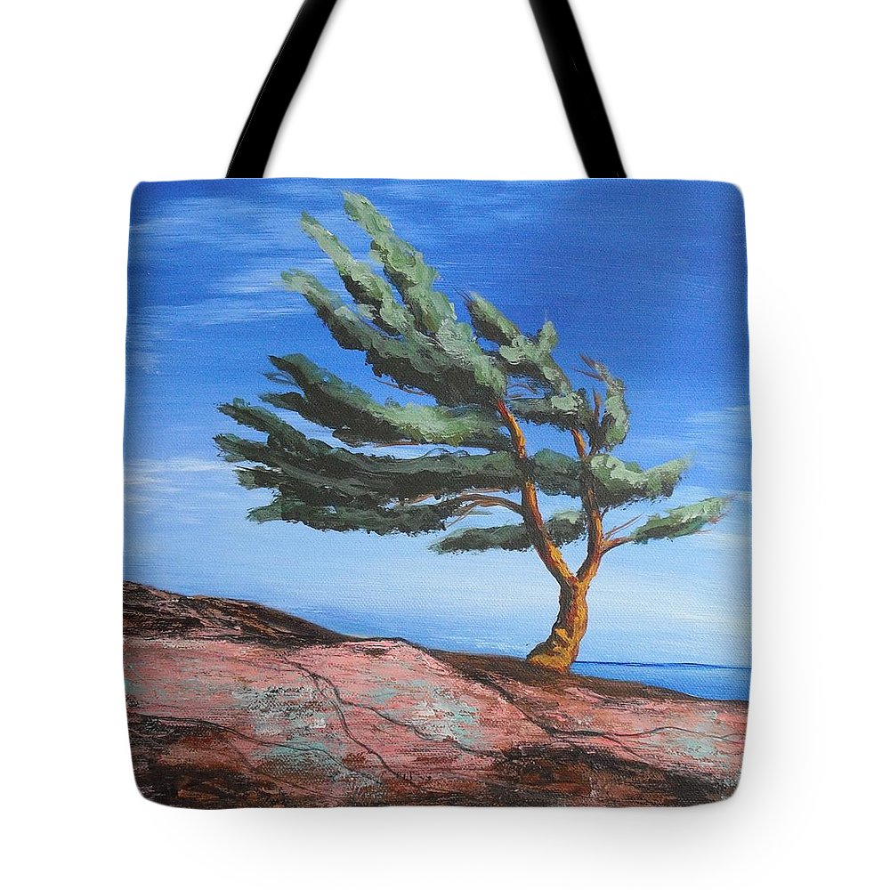 Landscape Tote Bag featuring the painting Landmark by Jana Caissie